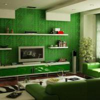Зеленые обои в гостиной современного стиля