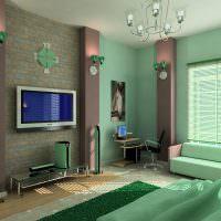 Зеленые обои под покраску в интерьере гостиной