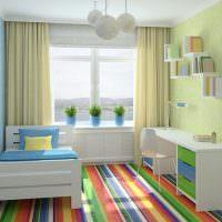 Детская комната с полосатым полом