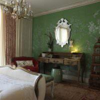 Трельяж в спальне с классическим интерьером