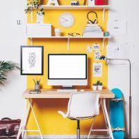 Рабочее место школьника в желтом цвете