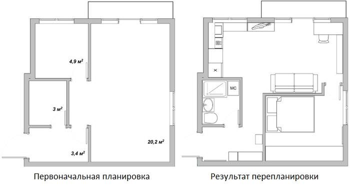 План-схема перепланировки квартиры площадью 38 кв метров
