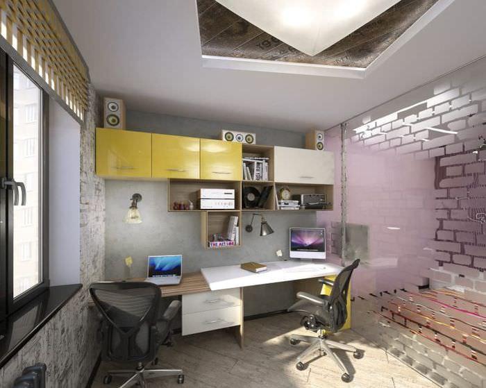 Обустройство рабочего места в совмещенной гостиной