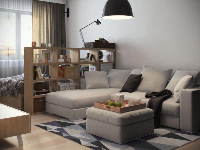 Книжный стеллаж в роли разделителя комнаты