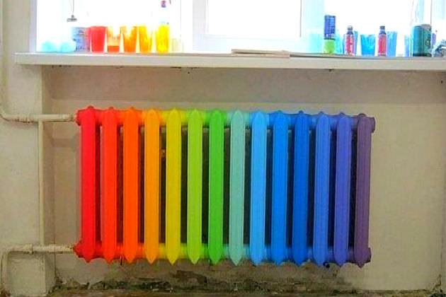 Окраска секций батареи в разные цвета