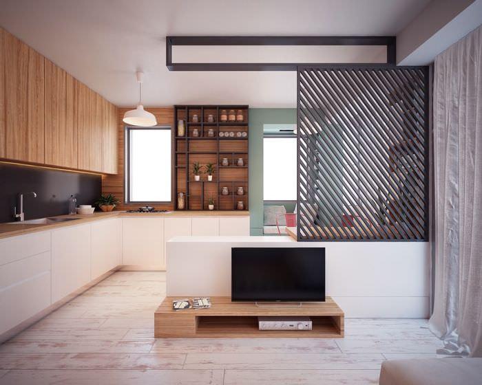 Зонирование квартиры-студии с помощью перегородки