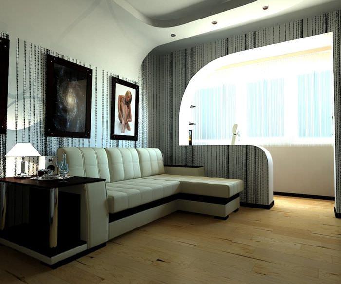 Интерьер комнаты после объединения с лоджией