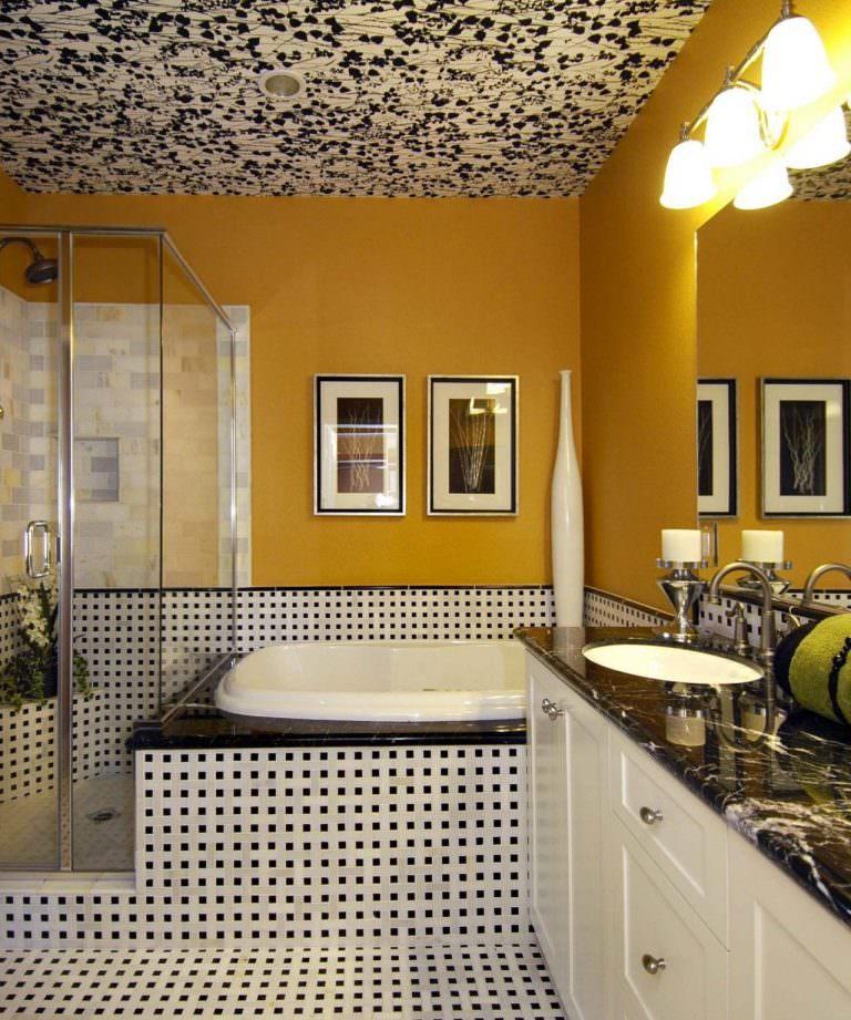 Оформление стен ванной комнаты в желтый цвет