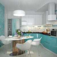 Дизайн современной кухни в бирюзовом цвете
