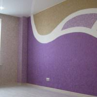 Отделка стены жидкими обоями различной расцветки