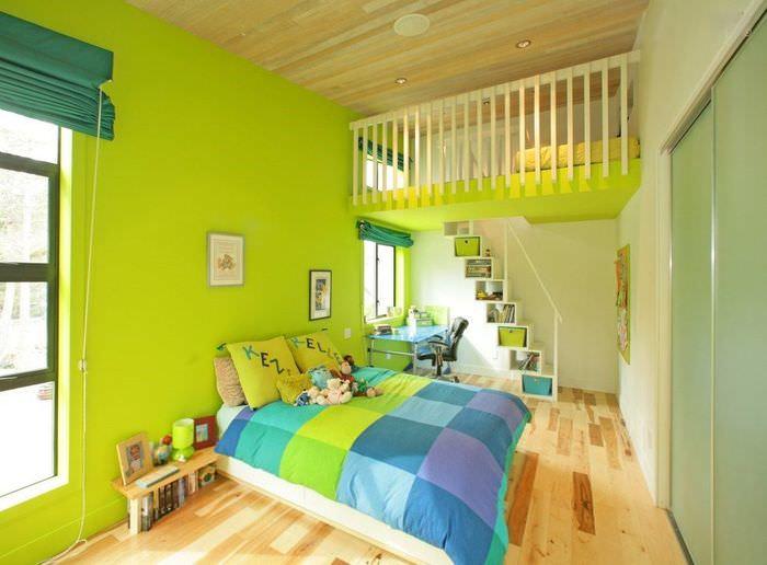 Дизайн детской спальни с салатовыми стенами