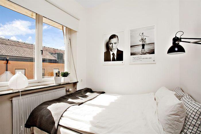 Интерьер небольшой спальни в однокомнатной квартире