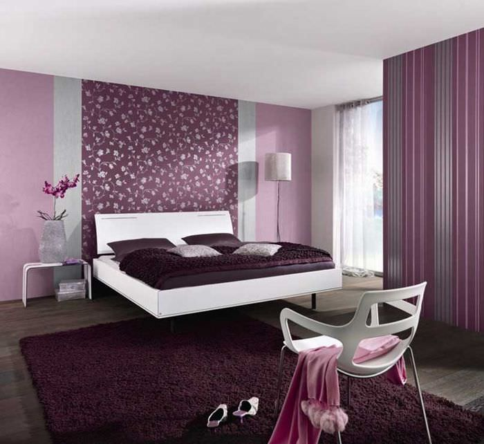 Оформление спальни в фиолетовых оттенках