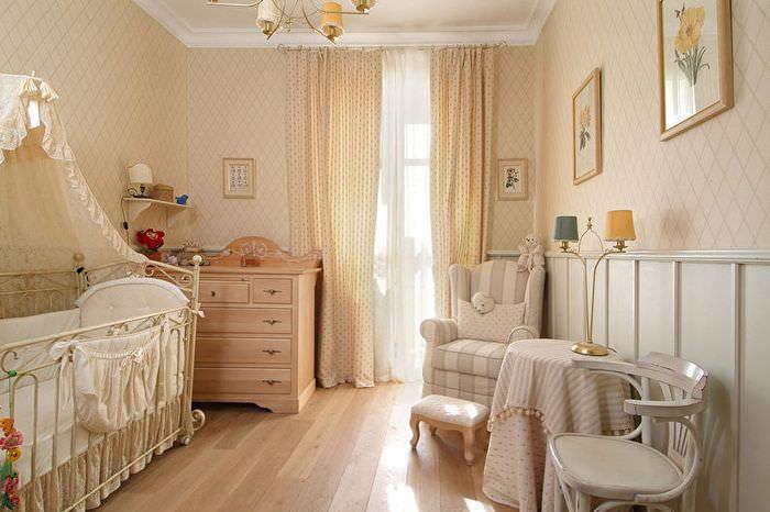 Интерьер детской комнаты в бежевом цвете