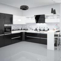 Черно-белый кухонный гарнитур угловой планировки