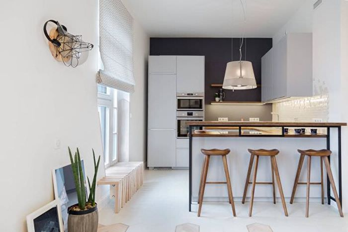 Дизайн черно-белой кухни в стиле лофт