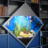 Встроенный аквариум в форме ромба