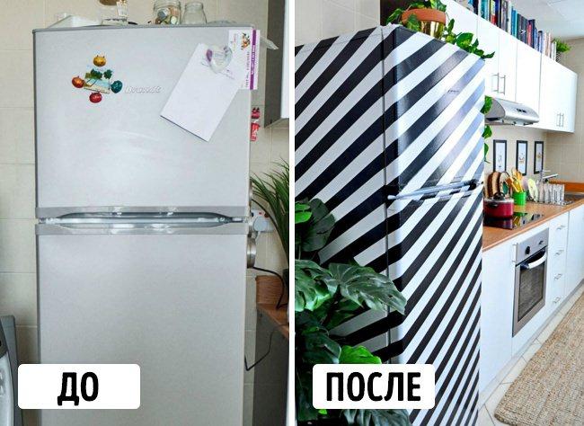 Декорирование холодильники черным скотчем своими руками