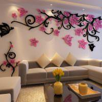 Объемная композиция из полиуретана на стене гостиной