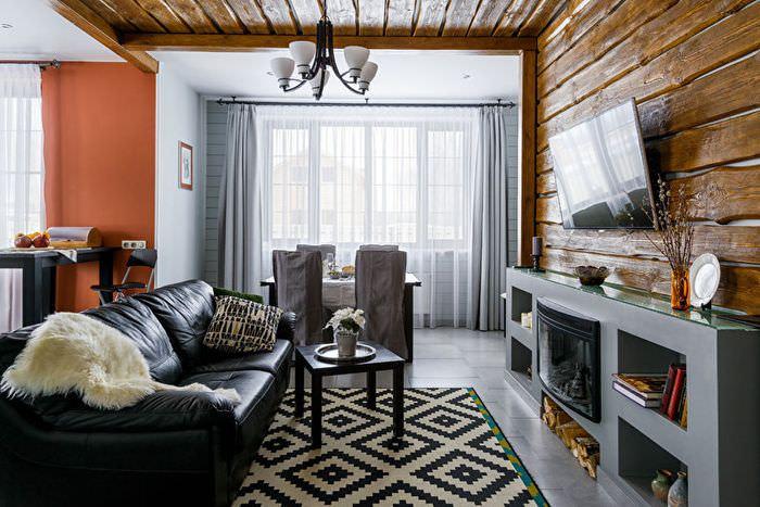 Деревянная отделка стен в гостиной стиля неоклассика