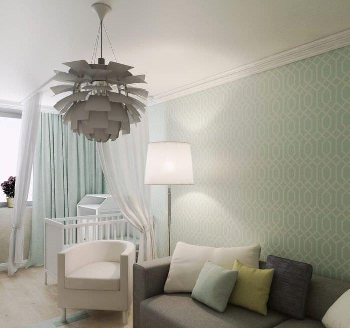 Дизайн гостиной с кроваткой для новорожденного