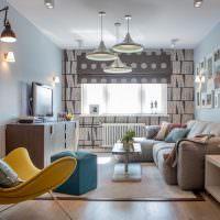 Дизайн гостиной комнаты в пастельных оттенках