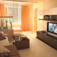 Зонирование комнаты с помощью веревочных штор