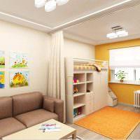 Оранжевый коврик в детской зоне общей комнаты