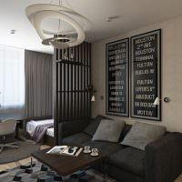 Дизайн гостиной в темных тонах