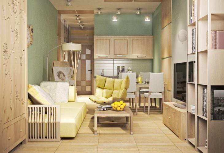 Интерьер общей комнаты в маленькой квартире