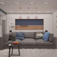 Дизайн гостиной с серым диваном