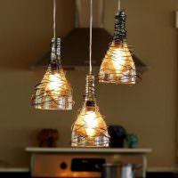 Подвесные светильники из стеклянных бутылок