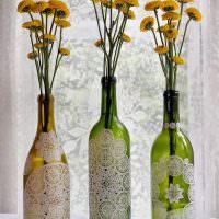 Вазы для цветов из старых винных бутылок