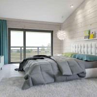 Современная спальня в деревянном доме