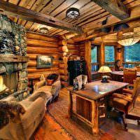 Письменный стол в бревенчатом доме