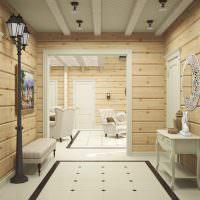 Дизайн прихожей в доме из бруса