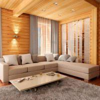 Серый ковер на деревянном полу
