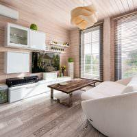 Современная мебель в деревянном доме