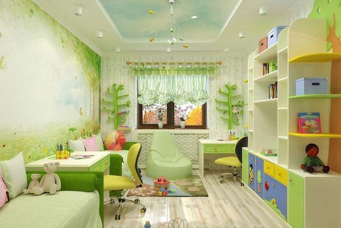 Зеленый цвет в интерьере детской комнаты
