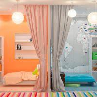Зонирование комнаты для девочки и мальчика