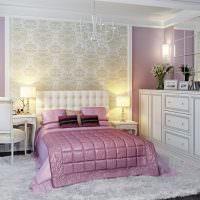 Классическая спальня с сиреневыми стенами
