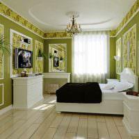 Белая мебель в комнате с зелеными стенами