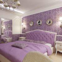 Оформление интерьера спальни в сиреневом цвете