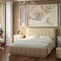 Фотообои с большими розами над кроватью для девушки