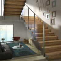 Дизайн лестницы со стеклянными перилами