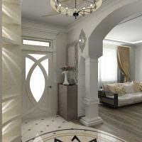 Интерьер прихожей, совмещенной с гостиной