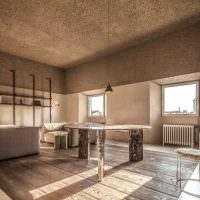 Бетонный потолок в квартире индустриального стиля