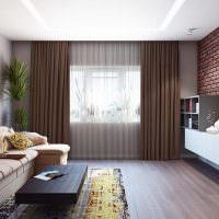 Кирпичная стена в дизайне гостиной