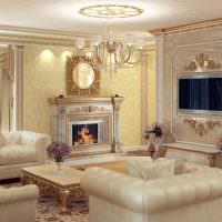 Дизайн красивой гостиной в духе классики