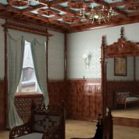 Потолок гостиной с резными элементами из дерева